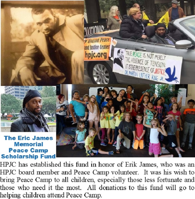 Erik James and Peace Camp Houston photo collage